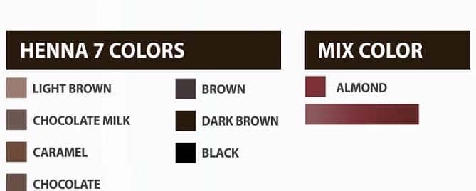 brow henna colors